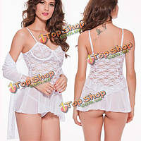 3шт женщин сексуальный сквозной кружева плиссированные ночная рубашка Эротическое наборы Пижамы