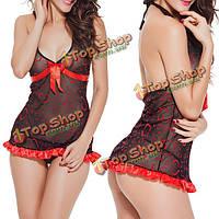 Женщины большой размер сексуальный прозрачный недоуздок красный лук сетки стринг ночная рубашка сорочка