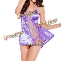 Сексуальные женщины недоуздок перспективе кружева Babydoll спинки полые шелковые пижамы