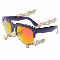2014 унисекс красочные зеркальные объектива солнцезащитные очки половину кадр очки для мужчин женщин
