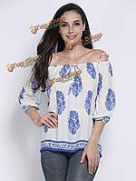 Этническая распечатан плечевой ремень свободная блуза для женщин