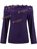 Кружевной воротник с плечом с длинным рукавом шифон блузки рубашка фиолетовый