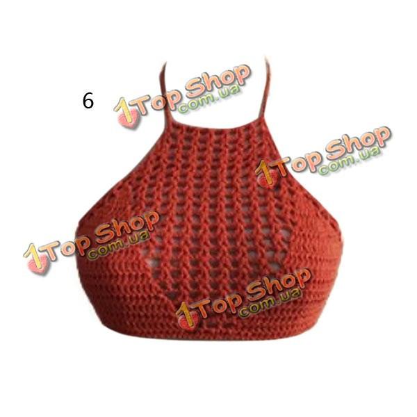 полое вязание крючком холтер топы для женщин пляжная одежда высоким
