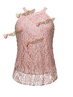 Сексуальные горячие женщины освобождают твердую кружевную блузку майки повода без рукавов