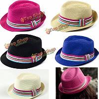 Унисекса женщины мужчины солому дискеты многоцветной фетровую шляпу пляже летом солнце фетровой колпачок