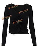 Сексуальная грудь женщин с длинным рукавом с вырезом в форме V сворачивает футболку топика
