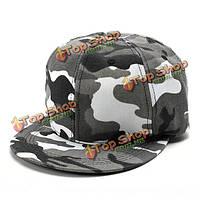 Унисекс Camo холст зеленый серый камуфляж бейсболка регулируемые хип-хоп шляпа плоская Snapback
