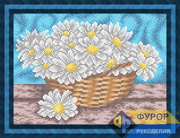 Схема для вышивки бисером картины Ромашки в корзине (НБп4-082-1)