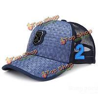 Мужчины соломы дышащая бейсболка спорт открытый навес регулируемый шлем сетки