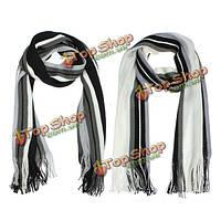 Зимняя мужская в полоску с бахромой вязаная имитация кашемир длинный шарф