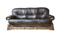 Кожаный трехместный диван Senator, коричневый (230 см)
