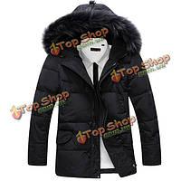 Зима воли наружный толстый теплый водонепроницаемый чистый цвет быстро нагибается меховой воротник пальто с капюшоном