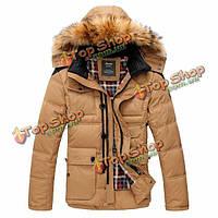 Мужская белая утка вниз толстый теплая зима пальто парка