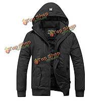 Мужская с капюшоном толщиной водоотталкивающая куртка съемный капюшон пальто карман на молнии