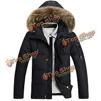 Мужская зимняя открытый густой теплой сплошной цвет меха воротник утка вниз куртка с капюшоном Пальто 4 цвета
