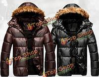 Мужская зимняя толстый теплый пуховик с капюшоном на молнии пальто