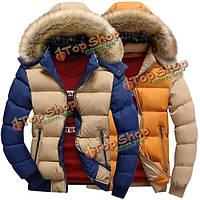 Мужские толстые теплые пальто контрастного цвета с съемным капюшоном пуховик