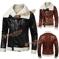 Зима мужские случайные тонкий искусственный мех пальто лацкан короткий параграф пу кожаную куртку
