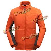 MENS спорта на открытом воздухе густой шерсти стенд воротник сплошной цвет куртки из полиэстера теплое пальто