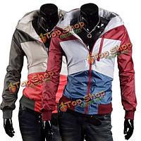 Мужская мода контраст цвета молния бурелом украшения пальто