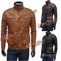 Мужские кожаные куртки PU дизайн простой случайный мульти кнопки тонкий плащ