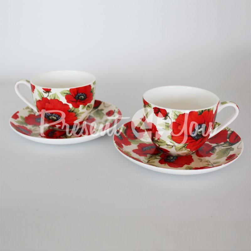 Чайный набор «Маки»: 2 чашки + 2 блюдца, 200 мл.Carmani