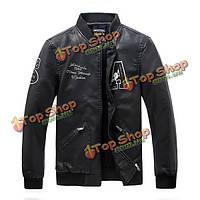 Мужская письмо мотоцикл PU кожаная куртка воротник моды стоят качество подкладка пальто