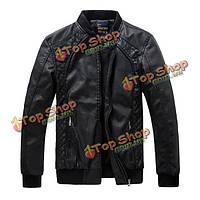 Стиральные PU кожаная куртка мужская подкладка воротник стойка мотоцикл качества молния пальто
