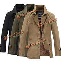 Мужская мода хлопок Британский стиль пальто случайного отложным воротником куртки