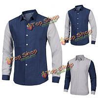 Британский качественный период печати точки стиля воли окрашивает рубашку повседневной одежды с длинными рукавами