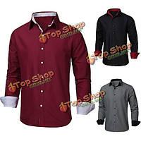 Мужская случайный тонкий нужным длинный рукав рубашки формальных кнопка up рубашки поло