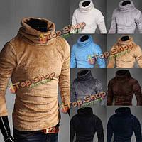 Зимние пуловеры трикотажа моды повседневный теплый эластичный свитер с высоким воротом шесть цветов