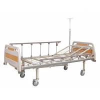 Кровать больничная механическая на колесах, с перилами, металлический каркас (2секции)