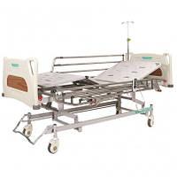 Кровать больничная с электромотором на колесах, с перилами и регуляцией высоты, стальной каркас (4секции)