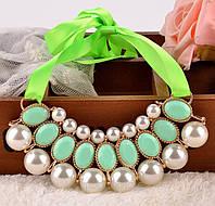 Жемчужное зеленое ожерелье