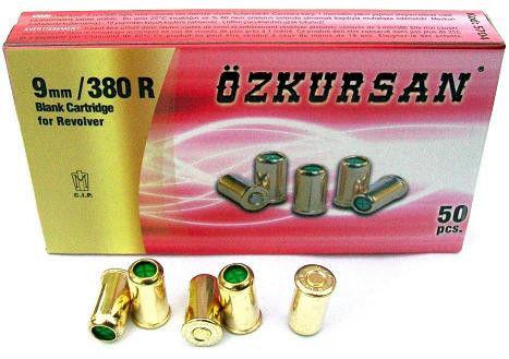 Спортивное оружие. Холостые патроны, 9 мм, 50 шт/уп. Патрон Ozkursan 9мм/380R револьверный, холостой