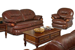Комплект кожаной мебели Орландо: диван+кресло, коричневый