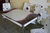 """Комплект стол и стулья для кухни """"Снежинки фиолетовые"""" (Лотос-М), фото 1"""