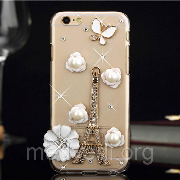 Чехол iphone 6 со стразами, Эйфелева башня и цветы из камней