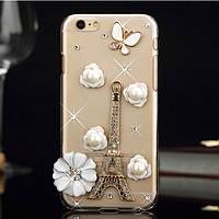Iphone 6 plus прозрачный чехол со стразами, Эйфелева башня из камней