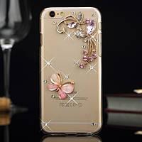 Чехол iphone 6 plus с камнями, бабочка, цветы и стразы