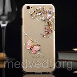 Чехол iphone 6 с камнями, бабочка, цветы и стразы