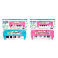Синтезатор детский игрушечный HS3290AB, 32 клавиши, 40см, 8 тон, запись, 8 инст, микрофон, 2 цв, на бат.