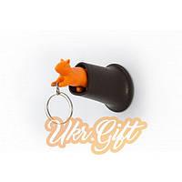 Держатель ключей + брелок Qualy Белочка (Оранжевый)