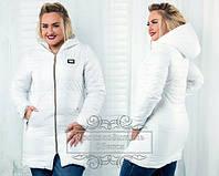 Пальто женское белое (плащевка+синтепон)