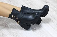 Ботильоны кожаные с цепями на каблуке