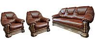 Классический кожаный комплект Гризли 3р-1-1, коричневый