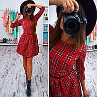 """Платье в шотландскую клетку короткое с пышной юбкой """"Лиза"""" SMs593"""