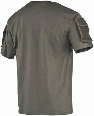 Тактическая футболка спецназа США, тёмно-зелёная, с карманами на рукавах, х/б MFH 00121B, фото 2