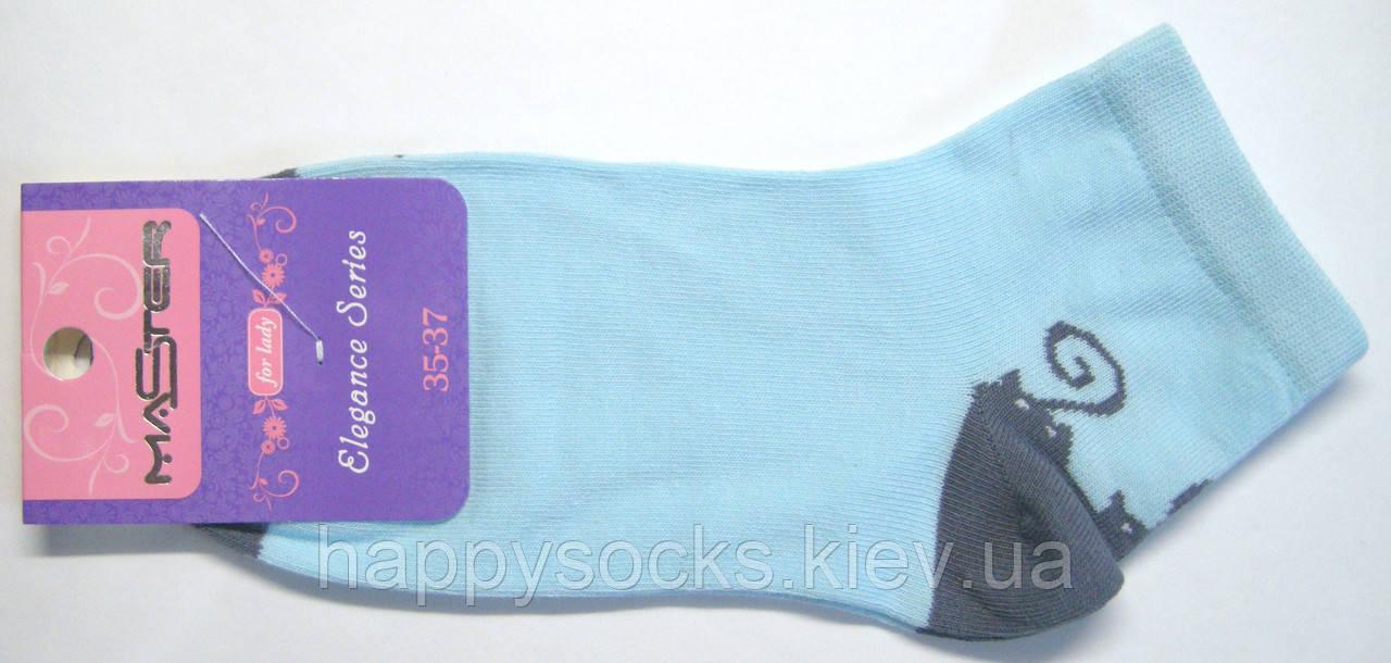 Носки цветные с рисунком голубого цвета в котики